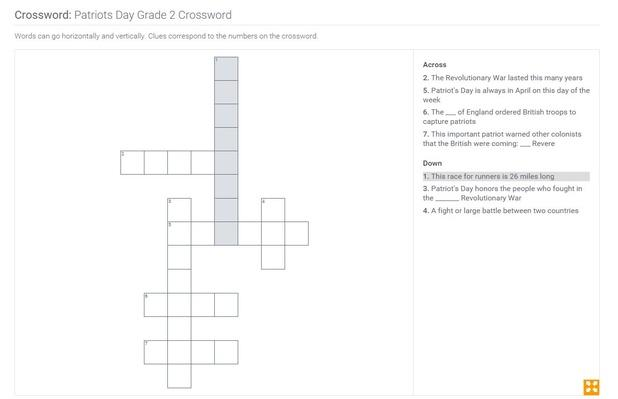 Patriots Day | Grade 2 Crossword