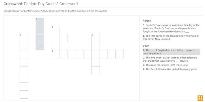 Patriots Day | Grade 3 Crossword