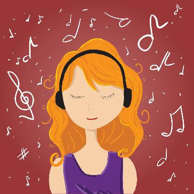 Girl Listen Music | Clipart