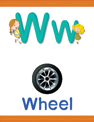 Alphabet Worksheets - W for Wheel | Clipart