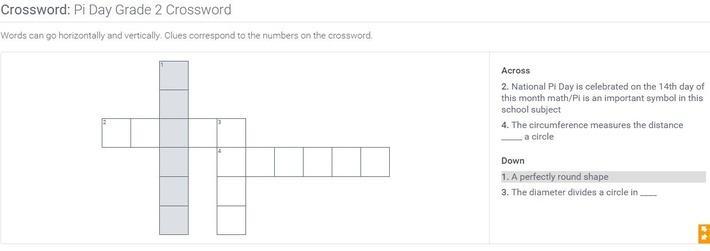 Pi Day | Grade 2 Crossword