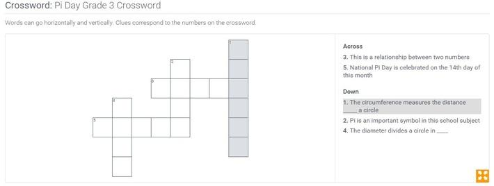 Pi Day | Grade 3 Crossword