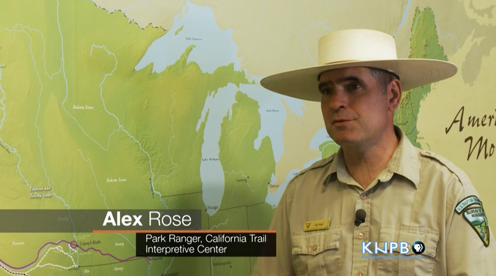 Color headshot of Alex Rose, a Park Ranger at the California Trail Interpretive Center, wearing the National Park Service uniform with its iconic Stetson hat.
