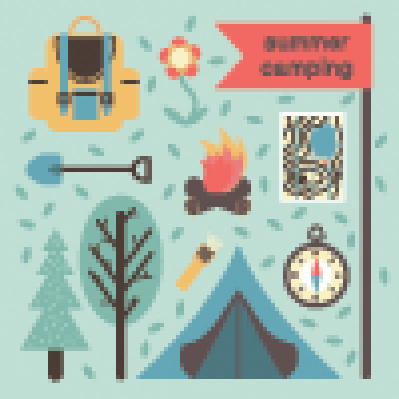 Mountain Forest Camping Symbols | Clipart