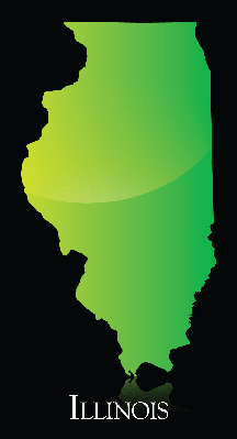 Illinois Green Shiny Map | Clipart