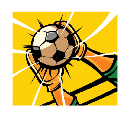 Close-Up of a Goalkeeper's Hands Catching a Soccer Ball | Clipart