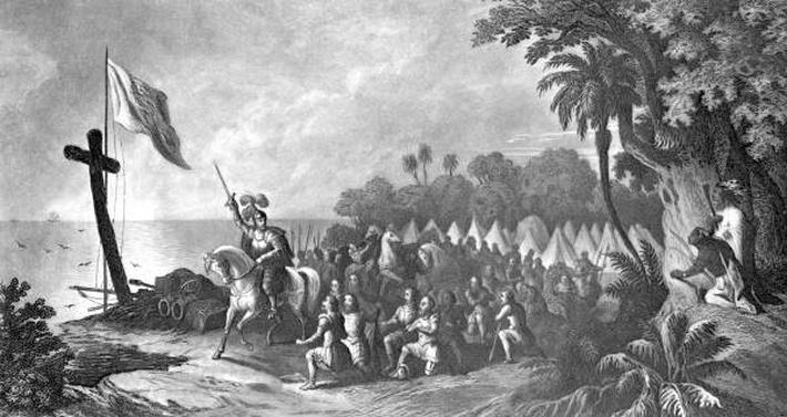Drawing of Hernando De Soto landing in Tampa