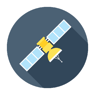 Flat Satellite Icon | Clipart