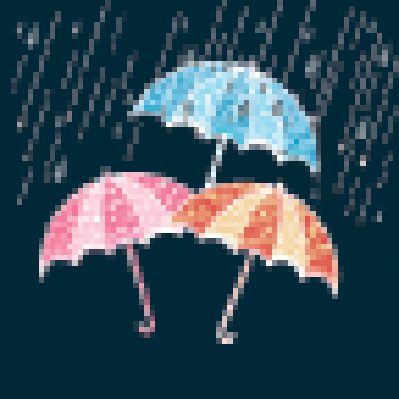 Stylish Open Umbrellas in the Rain | Clipart