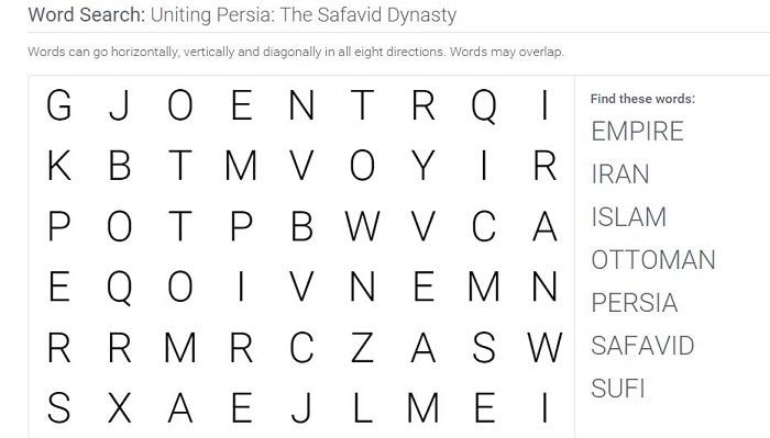 Uniting Persia: The Safavid Dynasty: Word Search Puzzle Activity