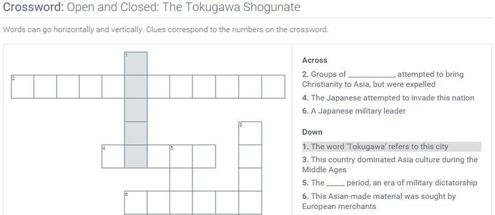 Open and Closed: The Tokugawa Shogunate: Crossword Puzzle Activity