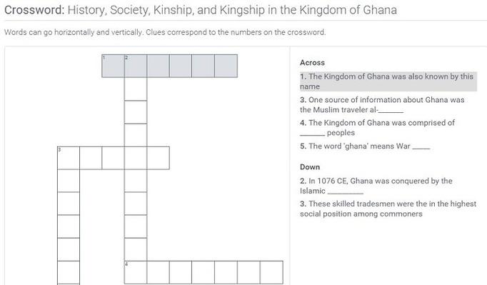 History, Society, Kinship, and Kingship in the Kingdom of Ghana: Crossword Puzzle Activity