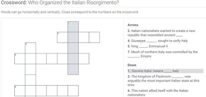 Who Organized the Italian Risorgimento?: Crossword Puzzle Activity