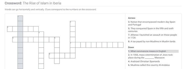 The Rise of Islam in Iberia: Crossword Puzzle Activity