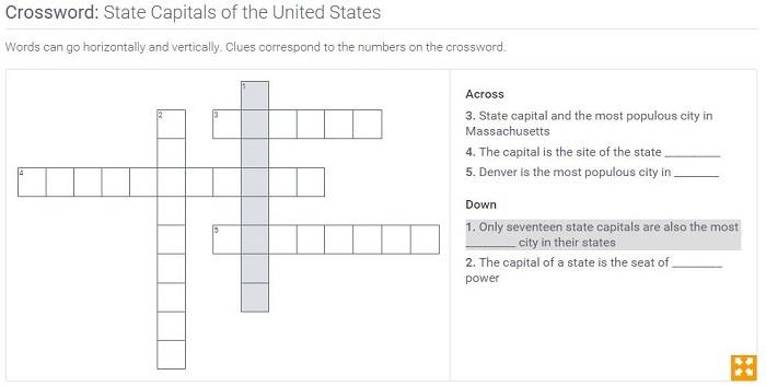 State Capitals of the United States: Crossword Puzzle Activity | PBS