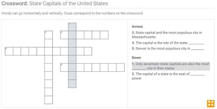 State Capitals of the United States: Crossword Puzzle Activity