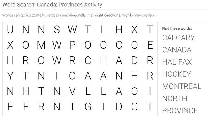 Canada: Provinces: Word Search Puzzle Activity