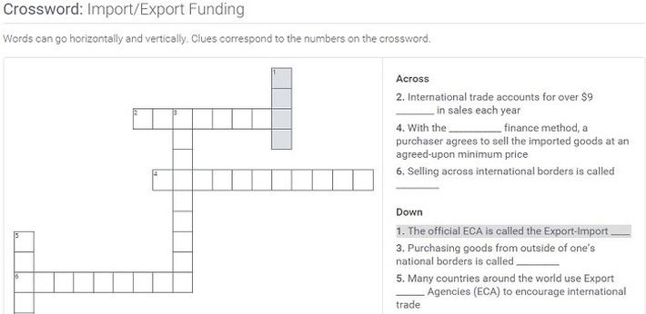 Import/Export Funding: Crossword Puzzle Activity