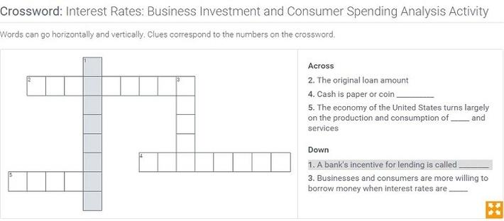 Interest Rates: Business Investment and Consumer Spending Analysis: Crossword Puzzle Activity