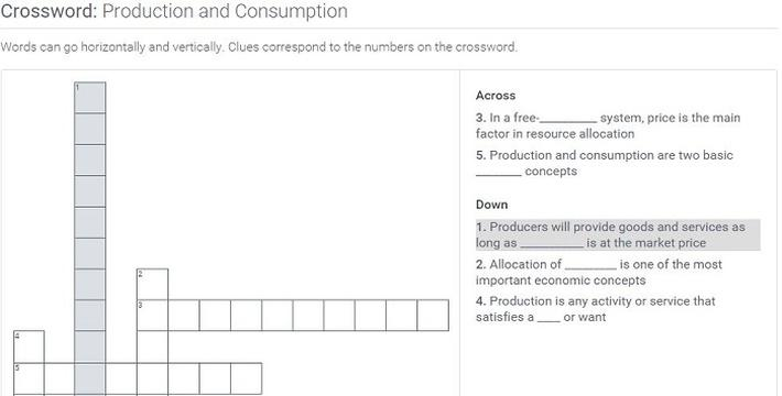 Production and Consumption: Crossword Puzzle Activity