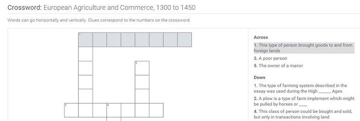 European Agriculture and Commerce, 1300 to 1450: Crossword Puzzle Activity