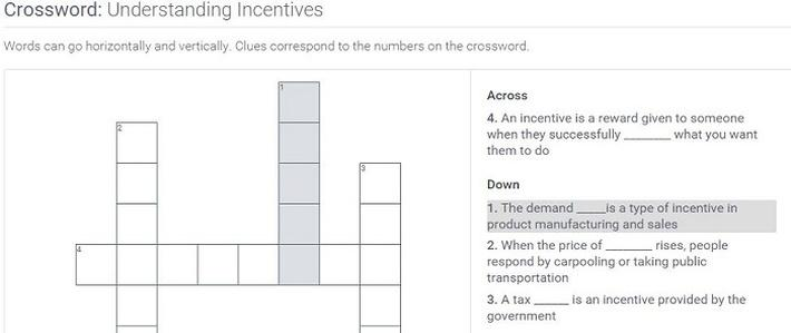 Understanding Incentives: Crossword Puzzle Activity