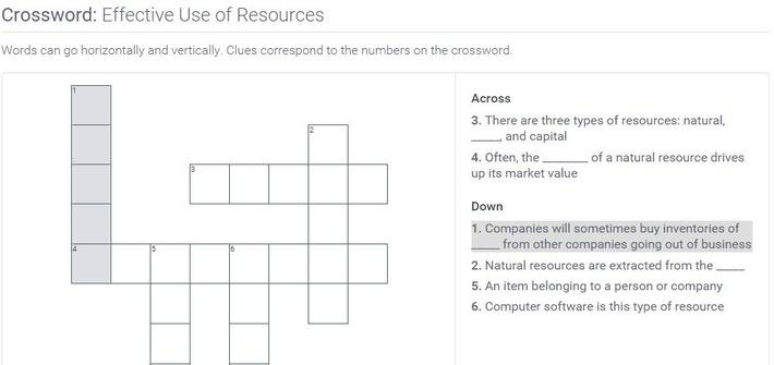 Effective Use of Resources: Crossword Puzzle Activity