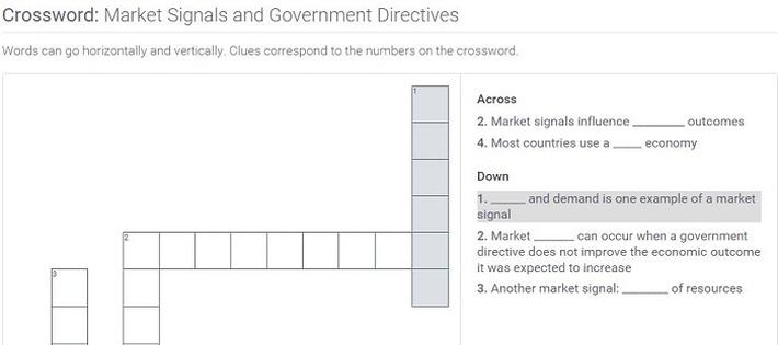Market Signals and Government Directives: Crossword Puzzle Activity