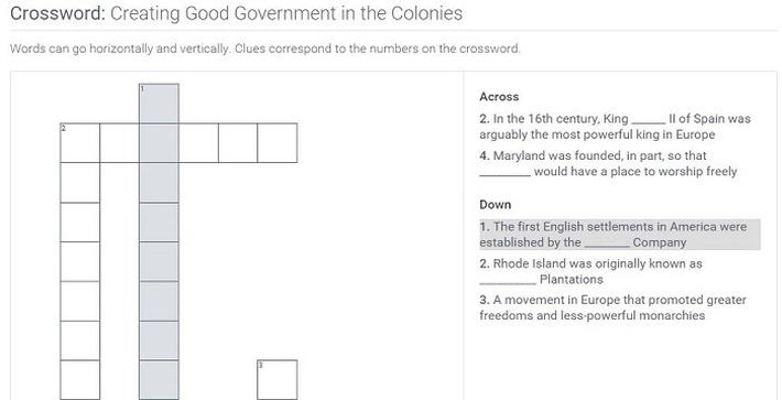 Creating Good Government in the Colonies: Crossword Puzzle Activity