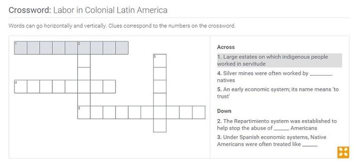 Labor in Colonial Latin America: Crossword Puzzle Activity