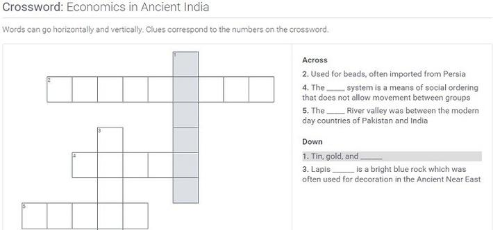 Economics in Ancient India: Crossword Puzzle Activity