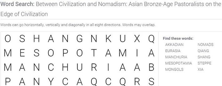 Between Civilization and Nomadism: Asian Bronze-Age Pastoralists on the Edge of Civilization: Word Search Puzzle Activity