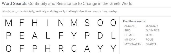 Continuity and Resistance to Change in the Greek World: Word Search Puzzle Activity