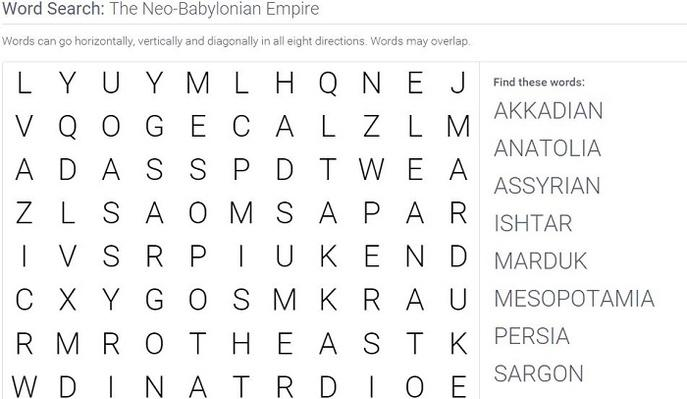 The Neo-Babylonian Empire: Word Search Puzzle Activity