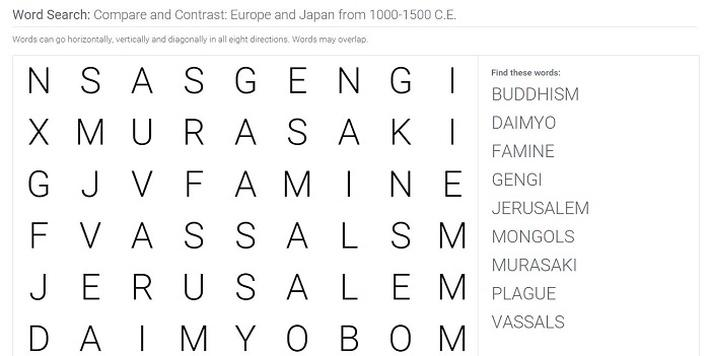 Compare and Contrast: Europe and Japan from 1000-1500 C.E.: Word Search Puzzle Activity
