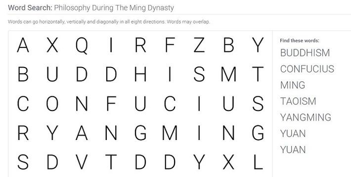 Philosophy During The Ming Dynasty: Word Search Puzzle Activity