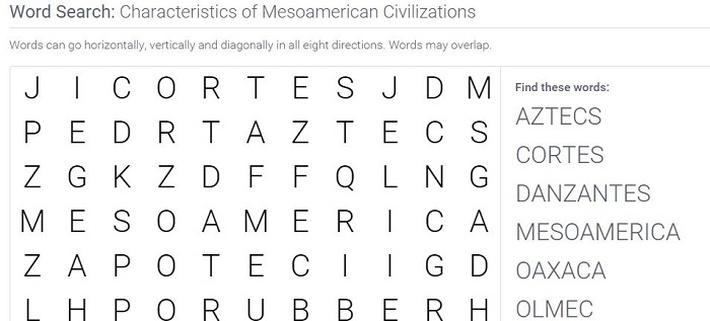 Characteristics of Mesoamerican Civilizations: Word Search Puzzle Activity