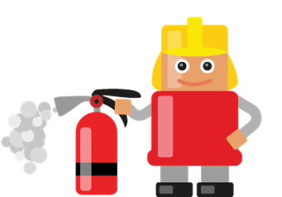 Fireman With Various Objects and Situations | Clipart