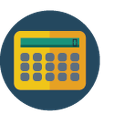Science Icons - Yellow and Blue - Calculator | Clipart