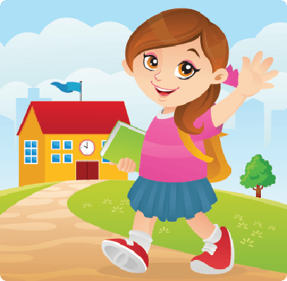 Friendly Girl Going To School | Clipart
