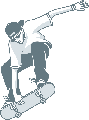 Guy Makes Jump on Skateboard | Clipart