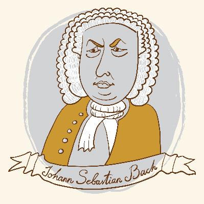 Portrait of Johann Sebastian Bach | Clipart