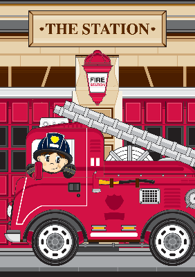 Fireman and Fire Engine Scene | Clipart