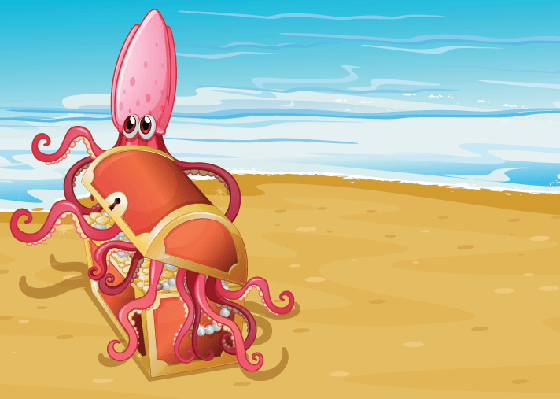 Treasure Box at the Sea With an Octopus | Clipart