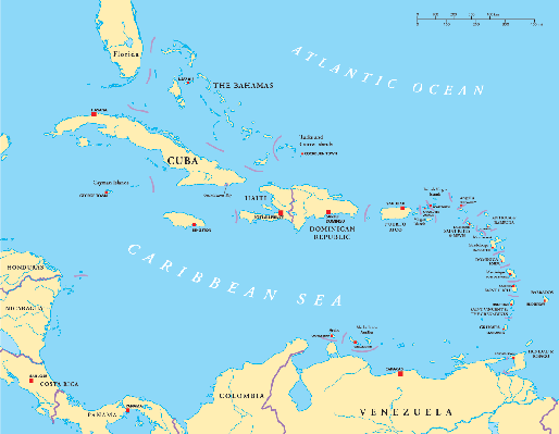Caribbean -  Large and Lesser Antilles -  Political Map | Clipart