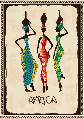 Illustration with Three Beautiful African Women | Clipart