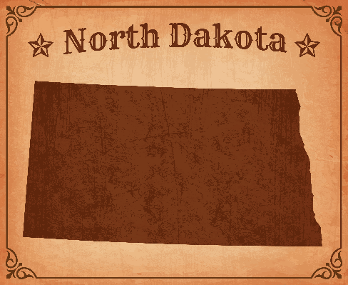 North Dakota Grunge Map with Frame | Clipart