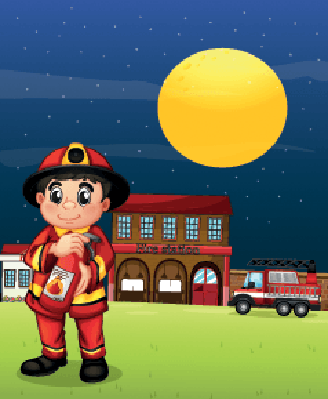 Fireman With a Fire Extinguisher | Clipart