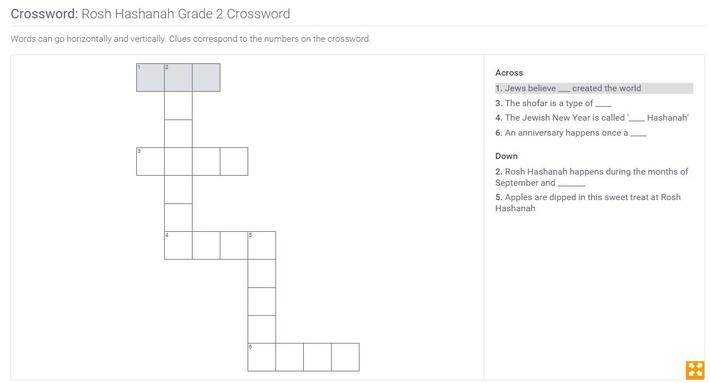 Rosh Hashanah | Grade 2 Crossword