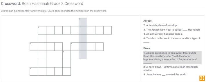 Rosh Hashanah | Grade 3 Crossword